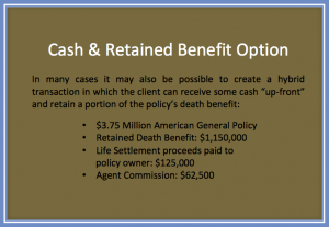 Cash and Retained Benefit with Advanced Life Settlements